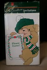 Vintage AG Christmas Party Invitations Teddy Bear ' Pk of 8 cards / envelopes