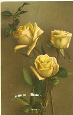 TUCK EASTER CARD, PRE20  EASTER SERIES # 1000 PM 1909 YELLOW ROSES (JL572)
