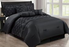 21 Piece Black Flocked  Comforter + Black  Sheet + Curtain Set King Size