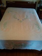 Vintage Chenille Bedspread cover white with flowers, leaf green pink Full Size