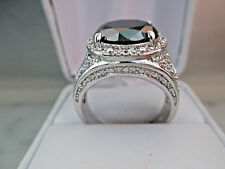 Antique Russian style 6Ct 13mm Black Diamond 14k White Gold plated ring for Men