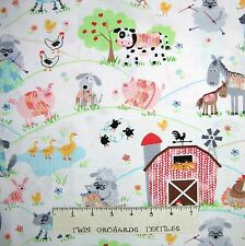 Farm Fabric - Knitting Cow Sheep Rooster Dog White - Timeless Treasures YARD