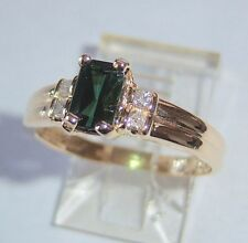LADIES 14K SOLID YELLOW GOLD TOURMALINE AND FOUR DIAMOND RING