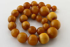ANTIQUE Vintage Pressed Butterscotch Beads 24mm BALTIC AMBER Necklace 103.7g n17