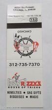 IZZY RIZZYS MAGIC HOUSE OF TRICKS SHOP CHICAGO IL MATCHBOOK VINTAGE MATCHCOVER