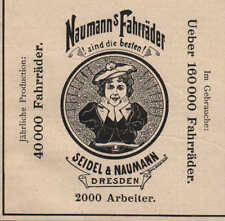 Dresda, Pubblicità 1899, Seidel & Naumann Germania-RUOTE BICICLETTA cuci-macchine