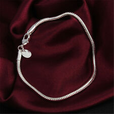 3MM Snake Bracelet Chain Jewelry Charm Bangle 925 Sterling Silver Plated Gift