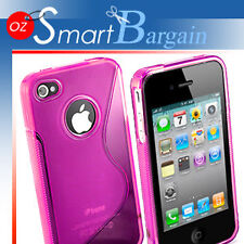 New Pink Soft Gel TPU Cover Case For iPhone 4G 4GS + Screen Protector