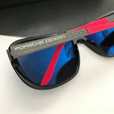 Porsche Design Eyewear P8000 P8557 Women's Black Red Mirrored Len Sunglasses NWT