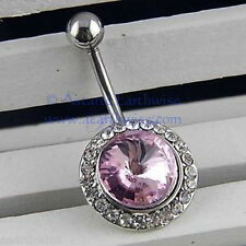 PINK RHINESTONE SURGICAL STEEL BELLY or NAVEL BAR BELL RING Wicca Witch Pagan