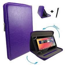 7 inch Case Cover Book For Kurio Tab 2 Kids Tablet - Zipper 7'' Purple