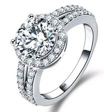 3ct Diamond Real 925 Sterling Silver Halo Engagement Ring Size 5-9 FREE Shipping