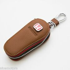Natural Leather Smart Folding Key Brown Case Holder For Honda Accord