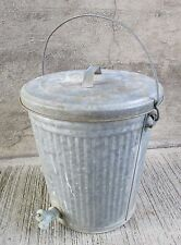 Small Vintage Galvanized Garbage Can with Lid, Handle & Spigot (#2)