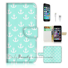 iPhone 6 (4.7') Flip Wallet Case Cover! P1319 Anchor Pattern