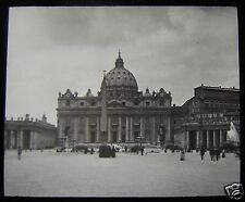 Glass Magic Lantern Slide OUTSIDE THE VATICAN - ST PETERS C1890 ROME ROMA