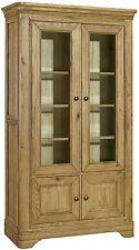 Linden solid oak living room furniture glazed display cabinet cupboard