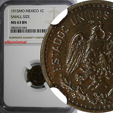 Mexico Bronze 1915 MO 1 Centavo NGC MS63 BN SMALL SIZE Mintage-179,000 KM# 416