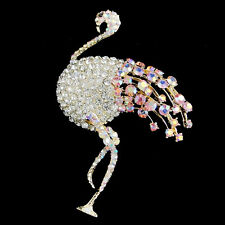 "3.4"" Bird Flamingo Clear Pink AB Austrian Crystal Brooch Pin Gold GP E521"