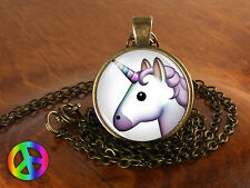 Emoji Face Unicorn Nerd Geek Geeky Smile Necklace Pendant Jewelry Charm Gift