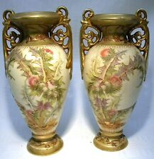 ART NOUVEAU ROYAL BONN BLUSH IVORY  THISTLE VASE MATCHED PAIR