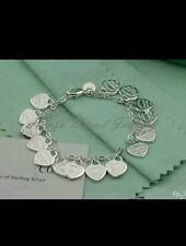 uk STAMPED 925 silver 15 heart bracelet ANKLET girl friend wife  CHRISTMAS gift