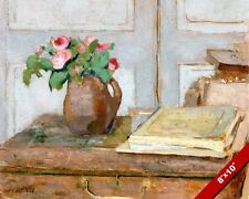 ARTIST'S PAINT BOX & MOSS ROSES STILL LIFE PAINTING ART REAL CANVAS GICLEE PRINT