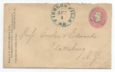 1860s US Cover with 3 cent Pink Entire & Blue Fishersville NH Cancel