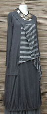 LAGENLOOK*KEKOO*LINEN MIX AMAZING QUIRKY GATHERED DRESS*GREY* Size 42-44