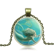 Vintage Cartoon Mermaid Cabochon Photo Bronze Glass Chain Pendant Necklace #Y310