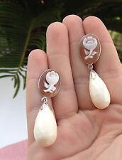 Orecchini argento 925 cammeo pendolo di corno liscio made in italy