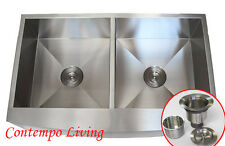 "36"" STAINLESS STEEL Kitchen Sink Farm Apron CURVE FRONT DOUBLE BOWL"