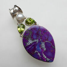 Copper Purple Turquoise Peridot Pearl Solid 925 Sterling Silver Gemstone Pendant