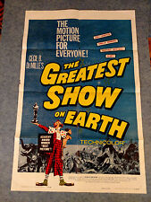 1950s DEMILLE GREATEST SHOW ON EARTH CIRCUS ORIGINAL ONE SHEET MOVIE POSTER