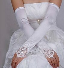 "17.5"" Long White Lace Insert Satin & Pearl Fingerless Wedding Prom Gloves"
