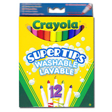Crayola Supertips 12 Bright Washable Lavable Markers Felt Tips Colour pens -7509
