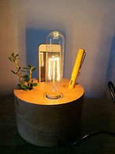 INDUSTRIAL Wooden Table Lamp  Phone Holder Inline Dimmer Filament edison Bulb