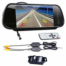 "7"" TFT LCD Monitor Mirror Car Backup Camera Kit Night Vision Rear View Wireles"