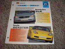 Head to Head Mercedes-Benz SLK vs Porsche Boxer 11 # 2 Spec Sheet Brochure