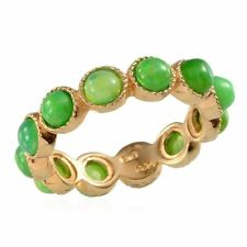 GREEN FIRE OPAL 14K Gold on Sterling Silver UK R FULL ETERNITY RING solid 925