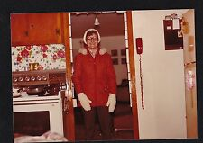 Vintage Photograph Woman in Hat & Mittens in Retro Kitchen Old Time Telephone