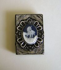 Unicorn Cameo Match Holder Stash Box Antigued Silver W Matches Wicca OOAK #4