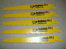 "5  DeWalt DW4802 6"" 6 TPI Bi-Metal Plunge Point Reciprocating Sawzall Blade"