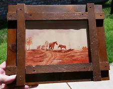 "5""x7"" Painting of Photo Cushing OK 1st Oil Well 1914 Wood Frame, Clara Streeter"