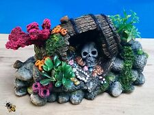 Aquarium Ornament Skull Barrel Coral Fish Tank Rock Decoration New