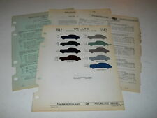 1942 WILLYS PAINT CHIP CHART COLORS SHERWIN WILLIAMS PLUS MORE