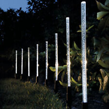 8 X LED CRYSTAL BUBBLE SOLAR POWERED RECHARGEABLE LAMPS GARDEN LIGHTS BORDER