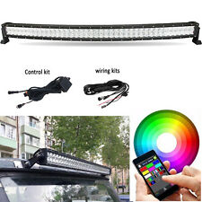 42 inch 5D CREE LED Curved RGB Light Bar Multi-Color Changing Offroad Bluetooth