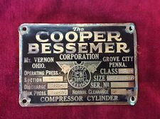 BRASS COMPRESSOR MOTOR NAMEPLATE BY THE COPPER BESSEMER CORPORATION
