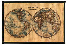 "Laser Printed Split Bamboo 12""x18"" Placemat, Set of 6 - World Map"